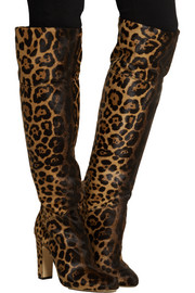 Renee leopard-print calf hair knee boots