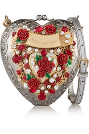 Dolce & Gabbana Heart embellished silver-plated shoulder bag
