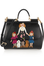 Dolce & Gabbana Sicily medium appliquéd embellished textured-leather tote