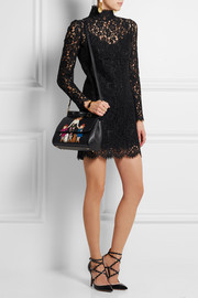 Sicily medium appliquéd embellished textured-leather shoulder bag