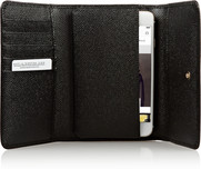 Appliquéd textured-leather iPhone wallet