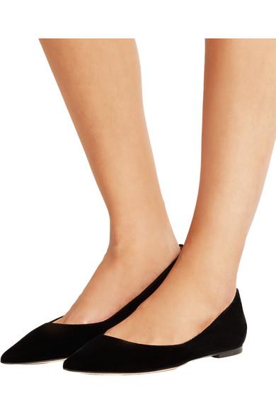 jimmy choo alina velvet point toe flats net a porter com. Black Bedroom Furniture Sets. Home Design Ideas