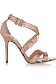 Jimmy Choo Lottie metallic elaphe sandals