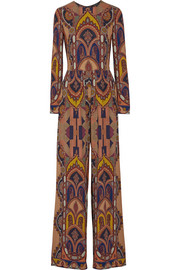Printed stretch-crepe jumpsuit