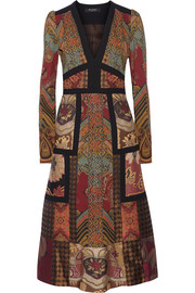 Patchwork printed crepe and jacquard dress