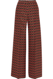 Printed silk-blend crepe wide-leg pants