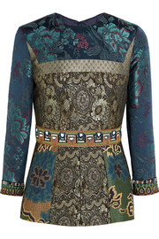 Embellished embroidered patchwork jacquard top