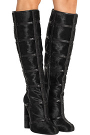 Patchwork calf hair and leather knee boots