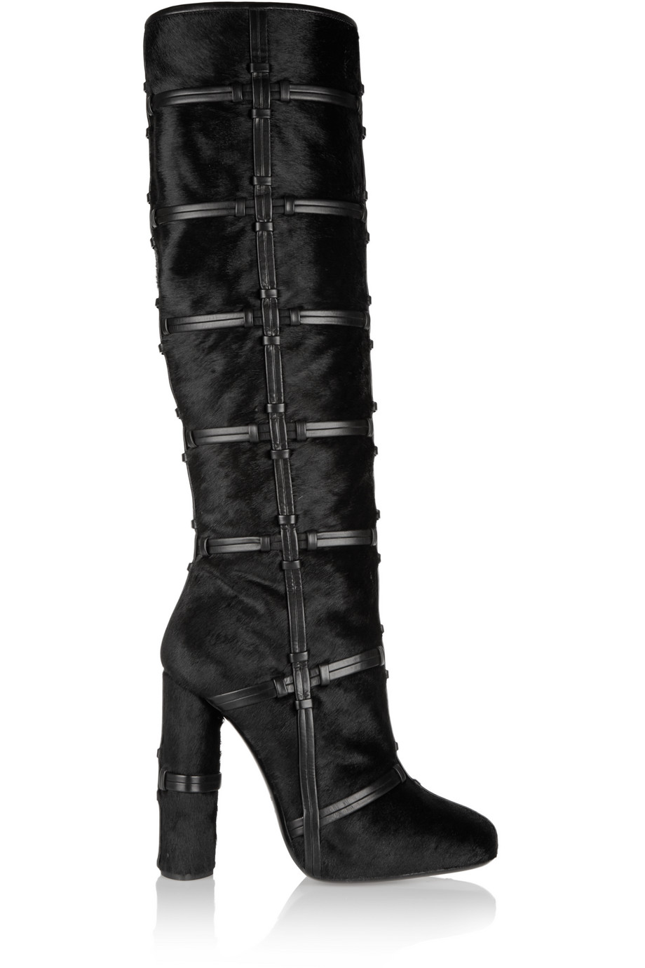 Patchwork Calf Hair and Leather Knee Boots, Black, Women's US Size: 4.5, Size: 35