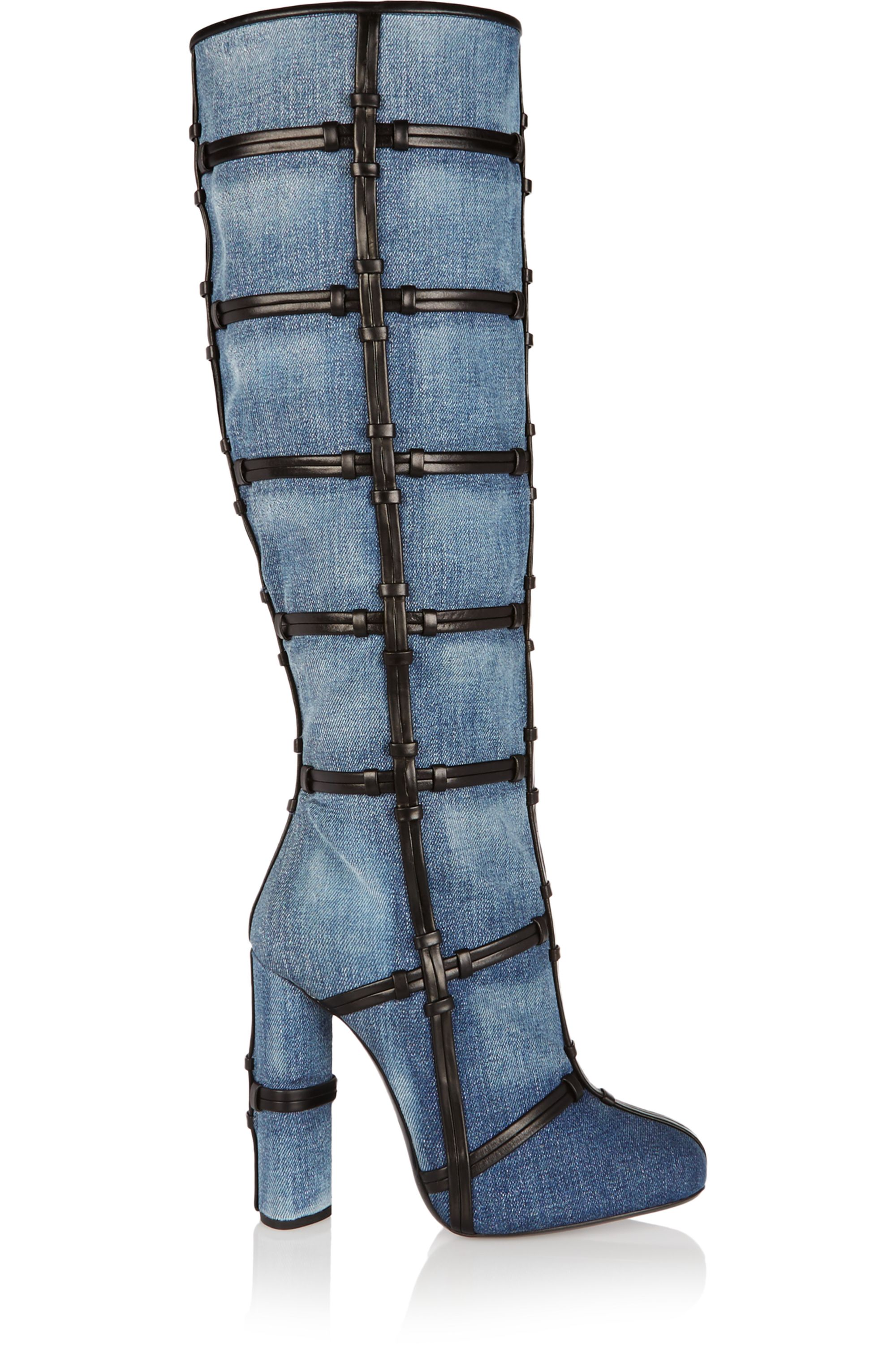 TOM FORD Patchwork denim and leather knee boots