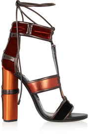 Paneled leather, velvet and satin sandals