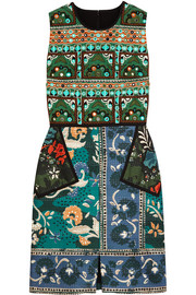 Embroidered printed cotton-blend dress