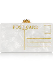 Jean Postal glittered acrylic box clutch