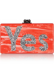 Jean Yes glittered acrylic box clutch