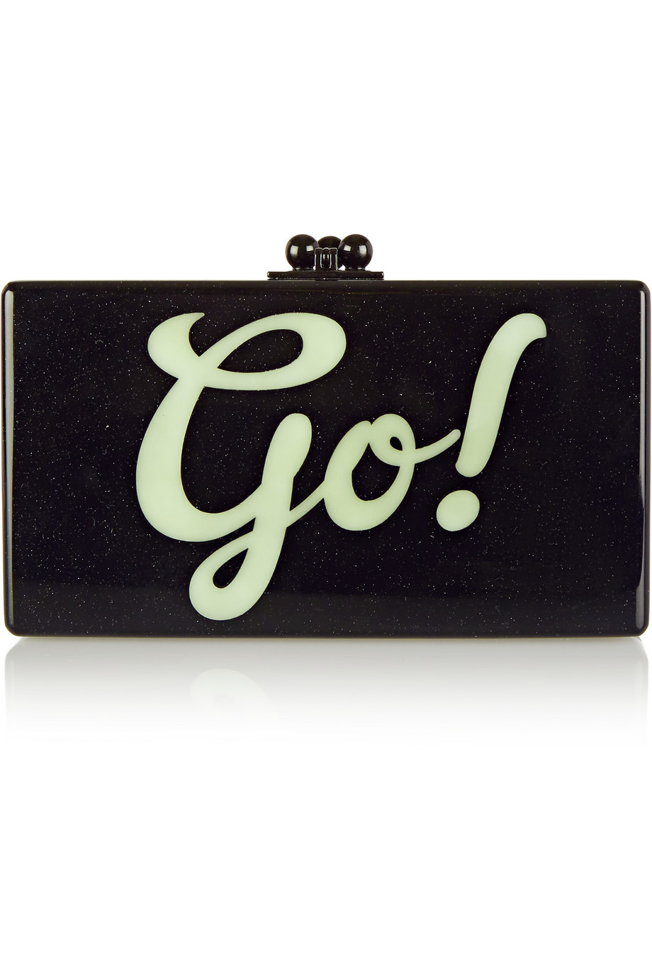 Edie Parker Jean Go Glittered Acrylic Box Clutch, Black, Women's