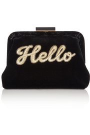 Lauren Hello embroidered velvet clutch