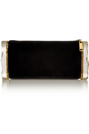Lara velvet and glittered acrylic box clutch