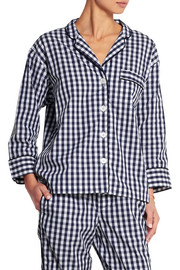 Marina gingham cotton-poplin pajama shirt