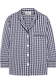 Sleepy Jones Marina gingham cotton-poplin pajama shirt