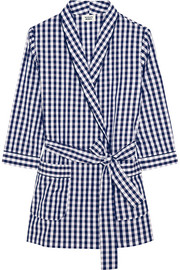 Louise gingham cotton-poplin robe