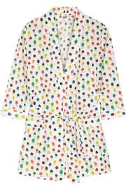Louise printed cotton-poplin robe