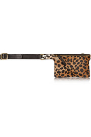 Petite leopard-print calf hair and leather belt bag