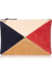 Color-block leather and suede clutch