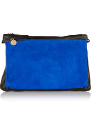 Gosee washed-leather and suede shoulder bag