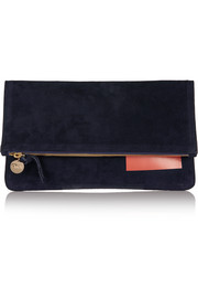 Clare V Margot fold-over coated suede clutch