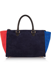 Sandrine color-block suede tote