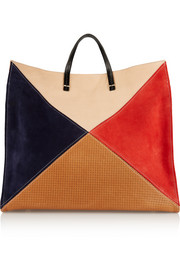 Simple color-block leather and suede tote