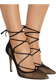 Lace-up suede and mesh pumps