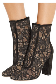 Gianvito Rossi Suede-trimmed Chantilly lace ankle boots