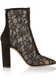 Suede-trimmed Chantilly lace ankle boots