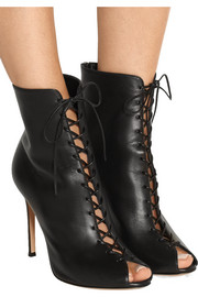 Lace-up leather peep-toe ankle boots