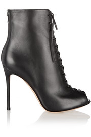 Gianvito Rossi Lace-up leather peep-toe ankle boots