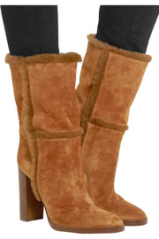 Shearling-trimmed suede boots