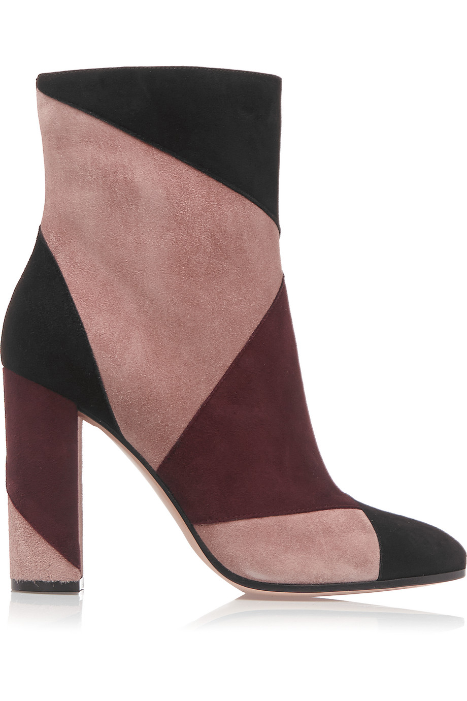 Gianvito Rossi Patchwork Suede Ankle Boots, Burgundy/Antique Rose, Women's US Size: 4.5, Size: 35