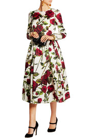 Floral-print silk-organza dress