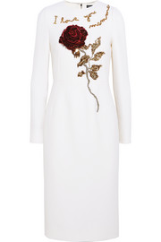 Embellished wool-crepe dress