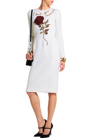 Dolce & Gabbana Embellished wool-crepe dress