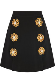 Embellished wool-blend gabardine mini skirt