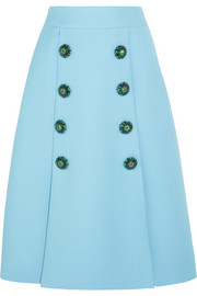 Crystal-embellished wool-crepe skirt