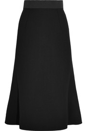Wool-crepe midi skirt