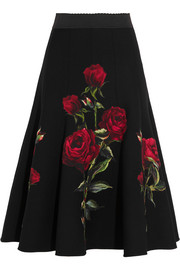 Floral-appliquéd wool-blend crepe skirt