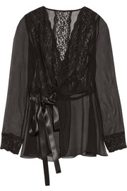Lace-trimmed silk-blend chiffon wrap top