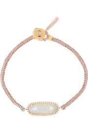 14-karat rose gold, moonstone and diamond bracelet