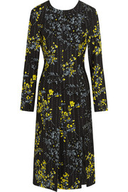 Floral-print wool and silk-blend dress