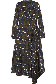 Asymmetric printed silk midi dress