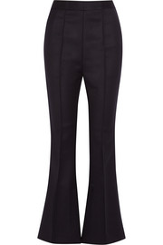 Cropped wool-twill flared pants